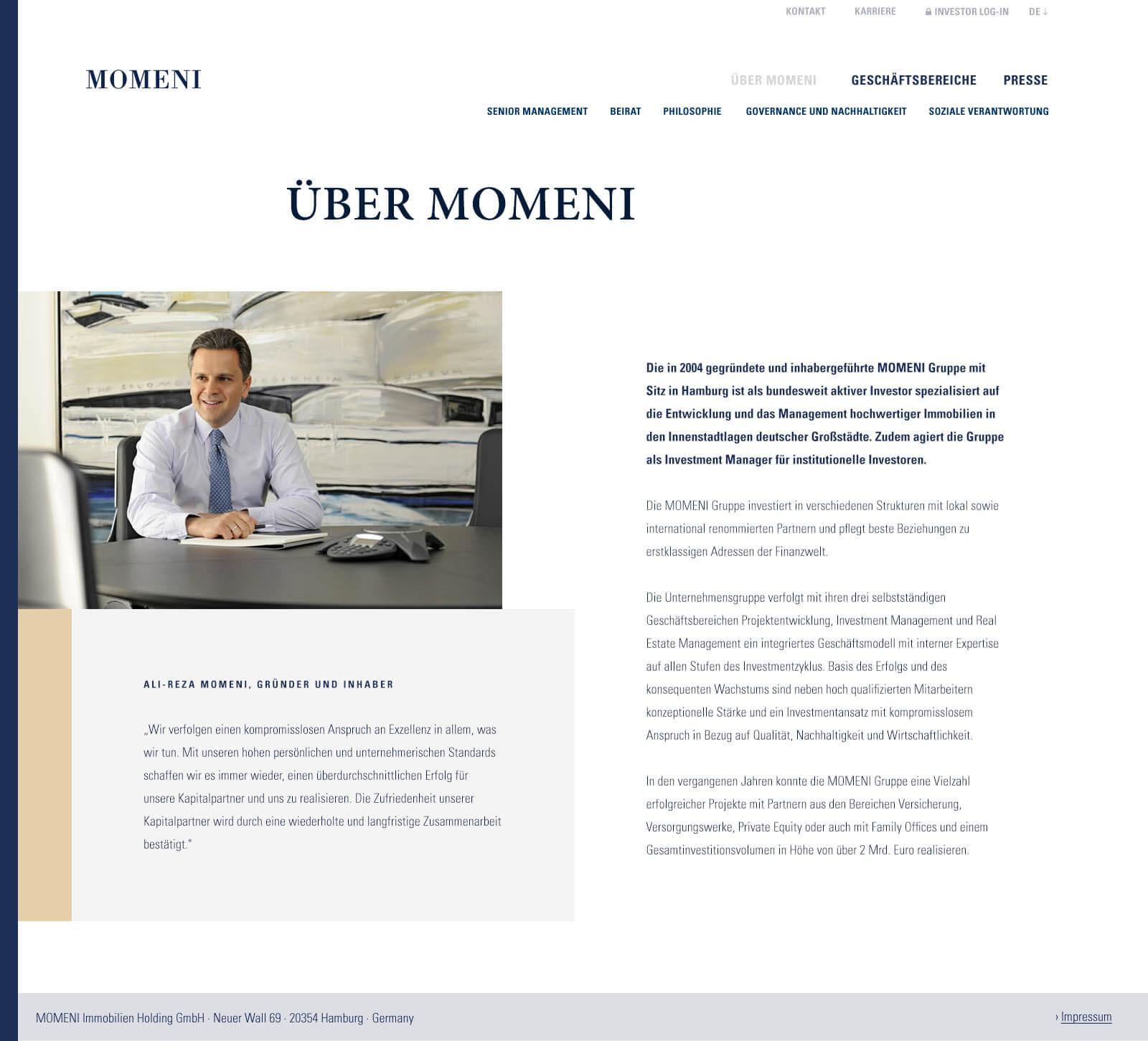 Immobilien Website in Düsseldorf: Projektentwickler Momeni Group - Geschäftsführung
