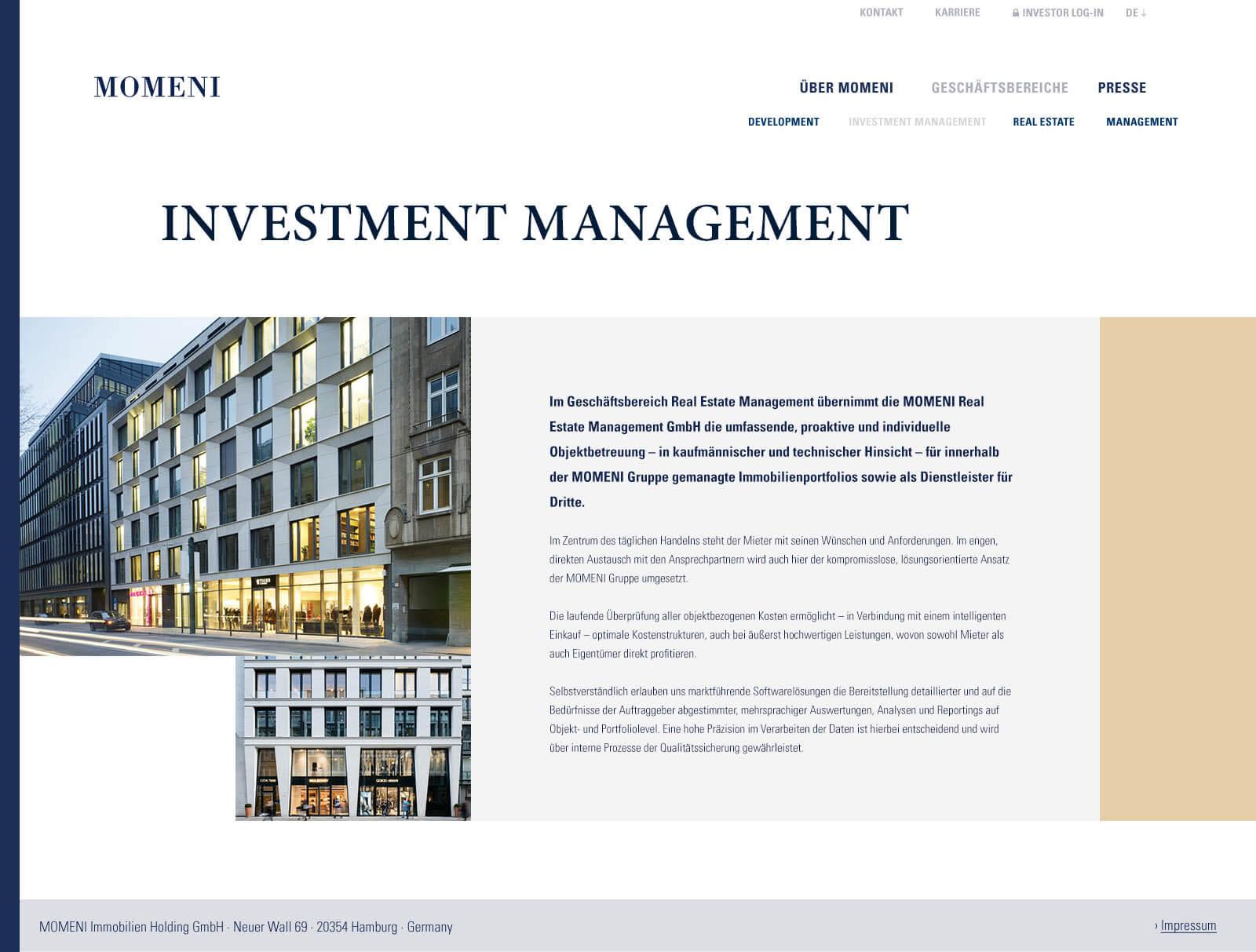 Immobilien Website in Düsseldorf: Projektentwickler Momeni Group - Projektdetail