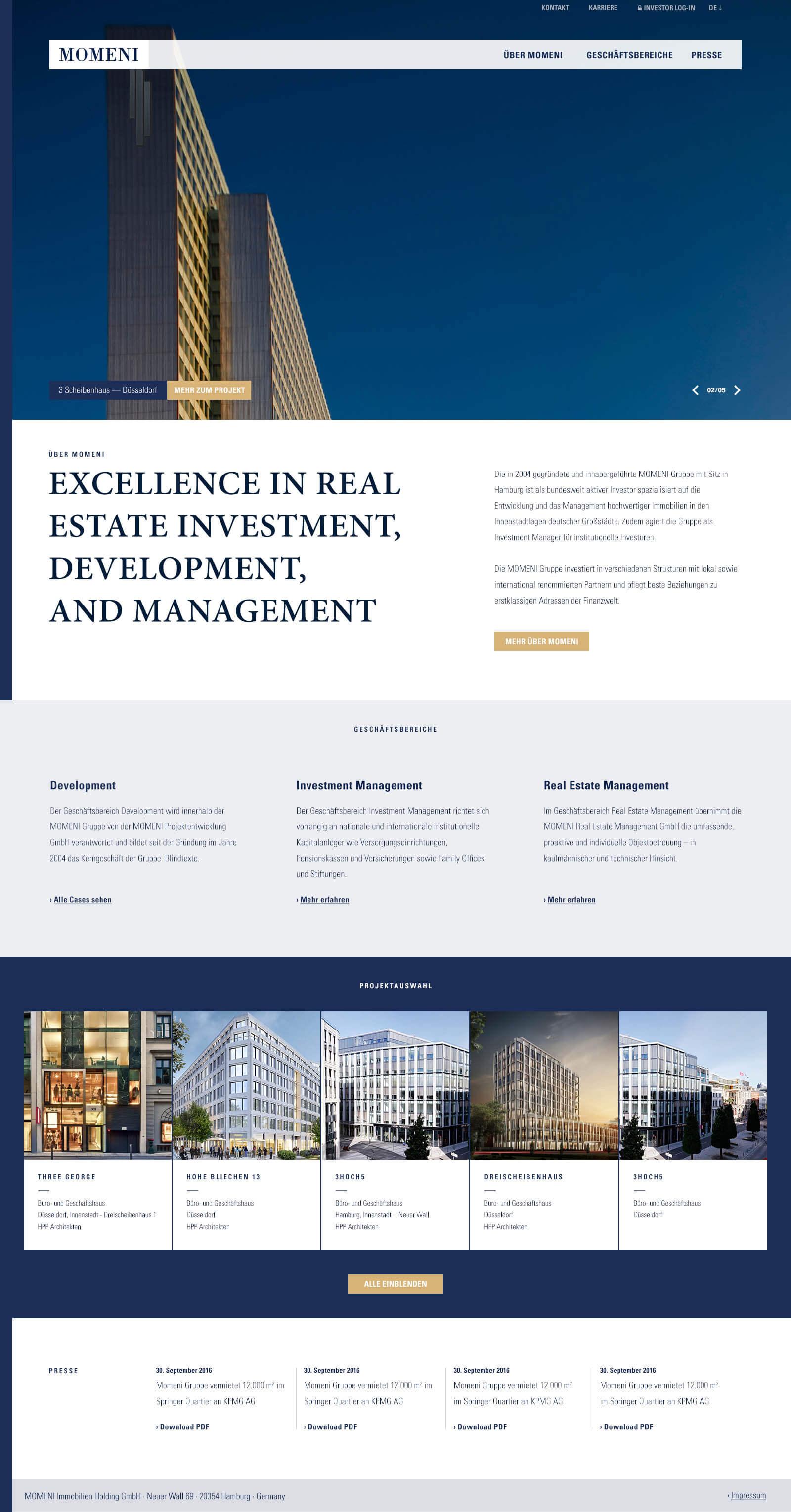 Immobilien Website in Düsseldorf: Projektentwickler Momeni Group - Startseite