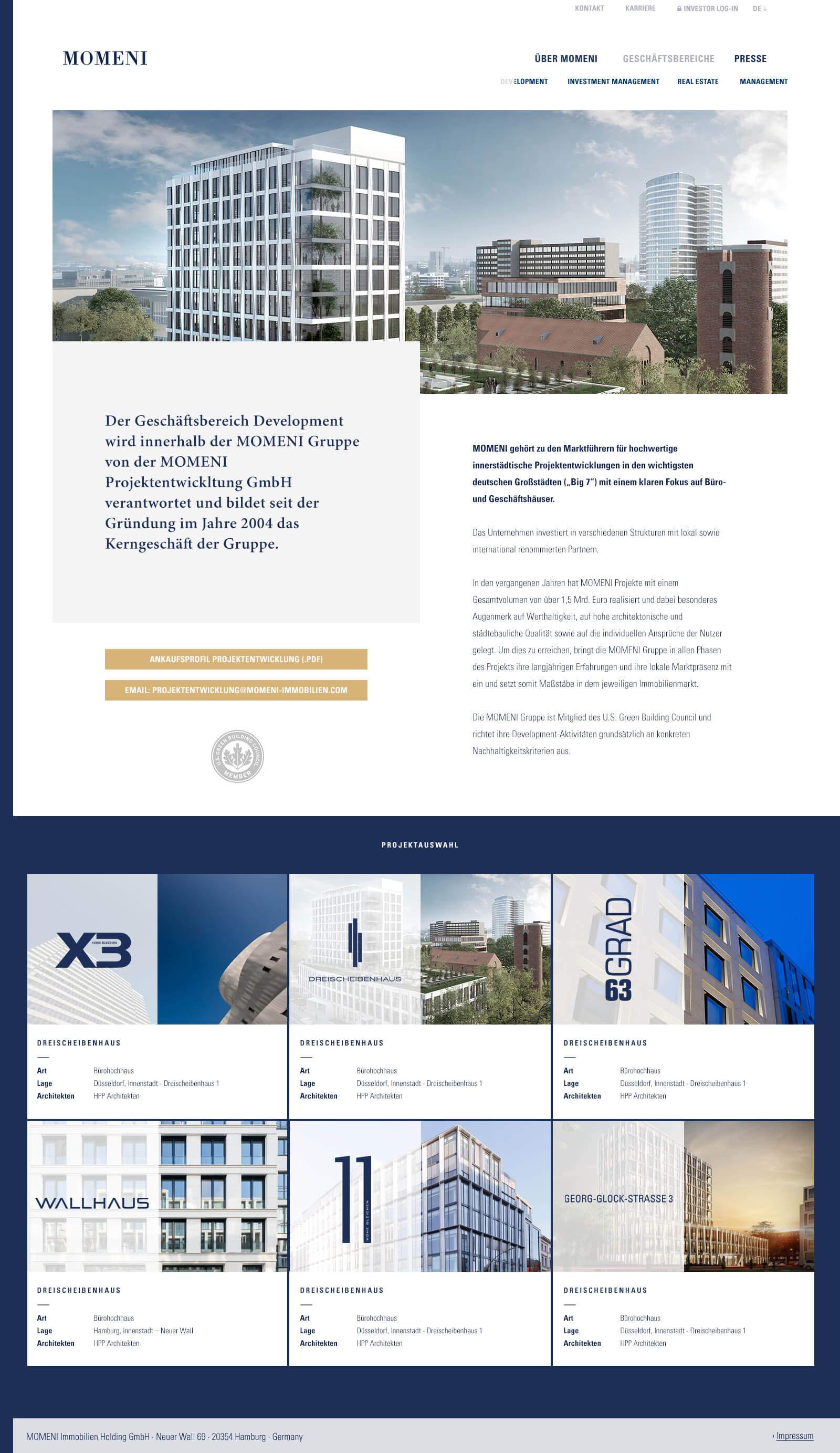 Immobilien Website in Düsseldorf: Projektentwickler Momeni Group - Projektübersicht