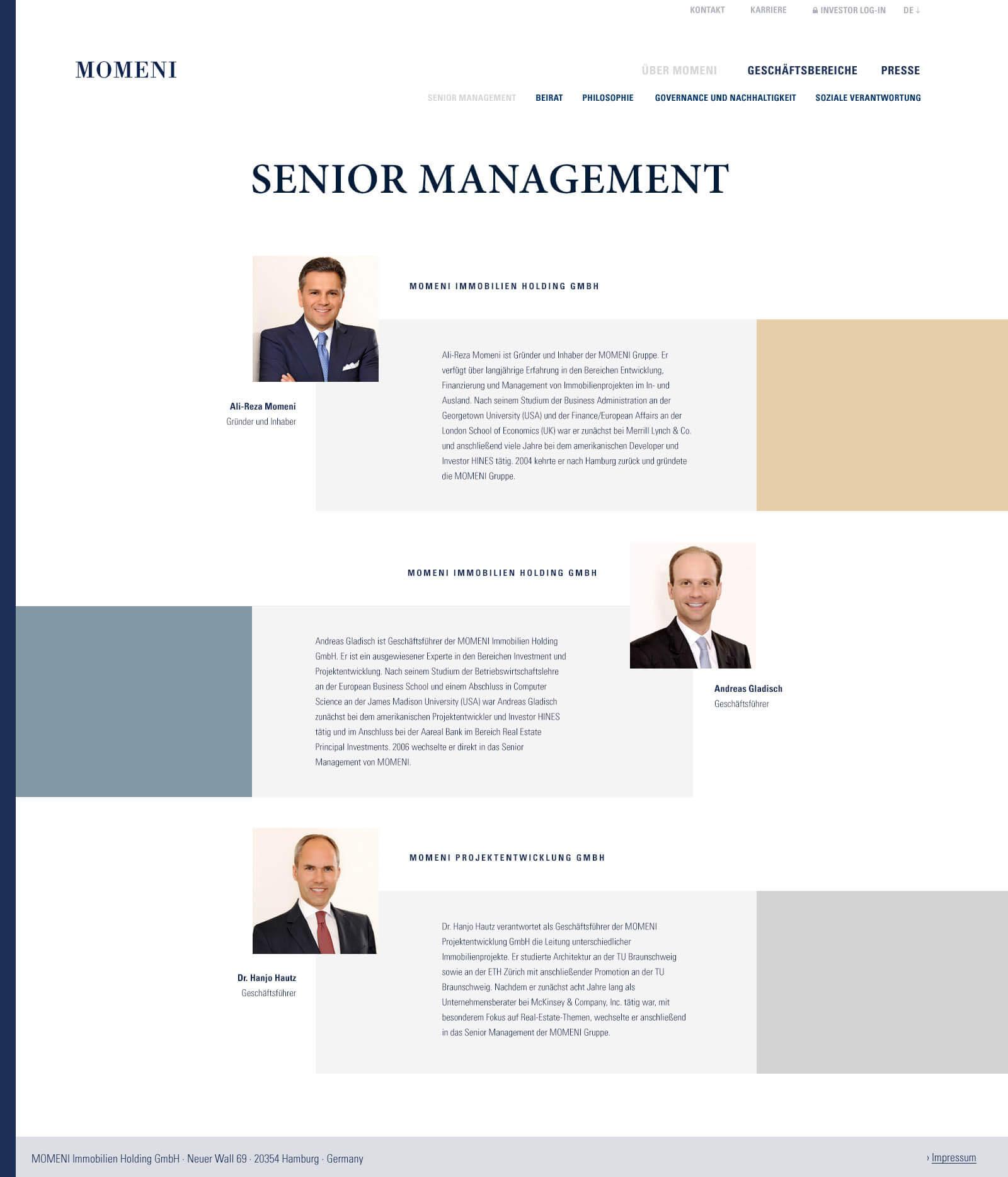 Immobilien Website in Düsseldorf: Projektentwickler Momeni Group - Board