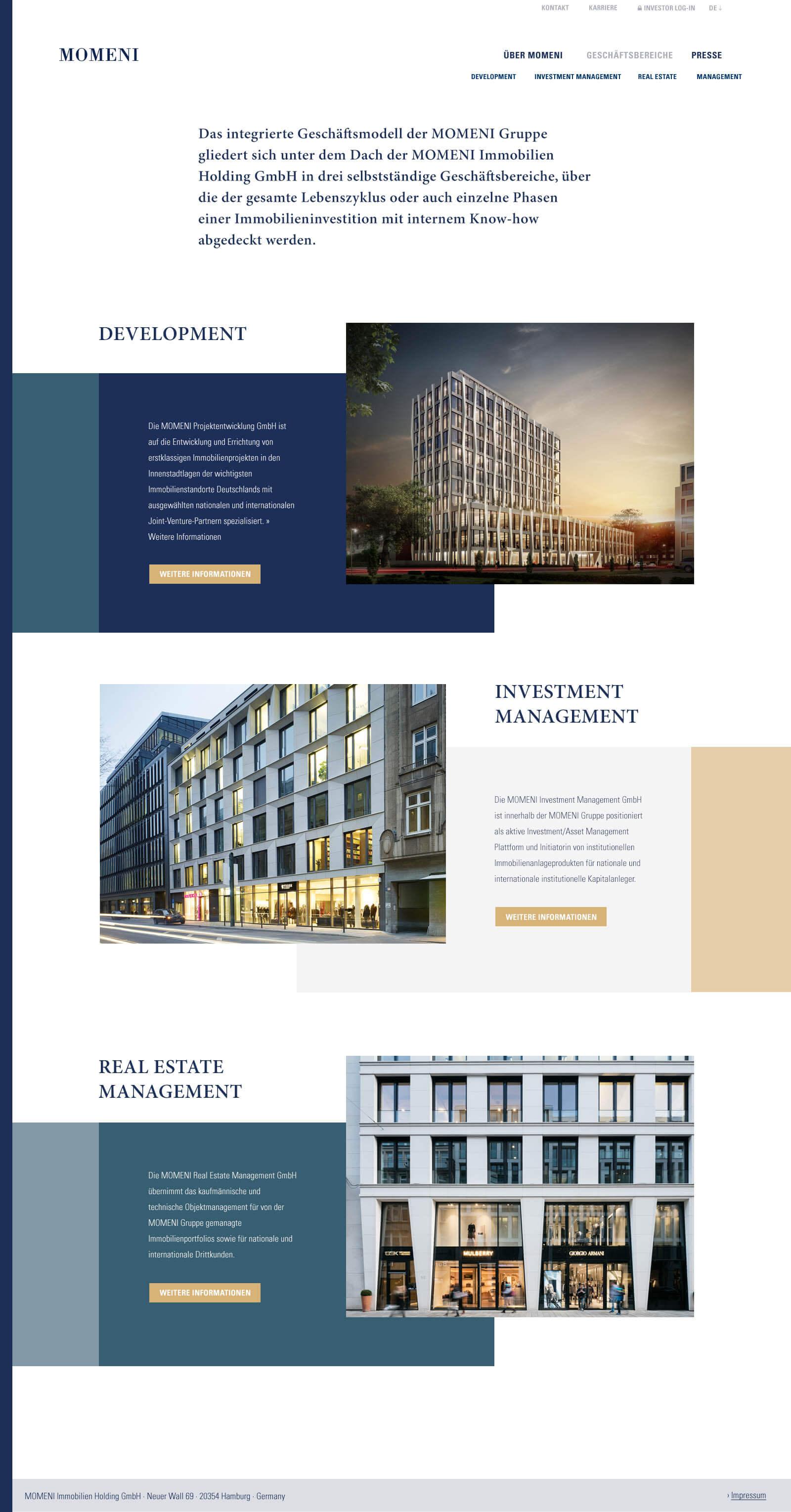 Immobilien Website in Düsseldorf: Projektentwickler Momeni Group - Leistungsübersicht