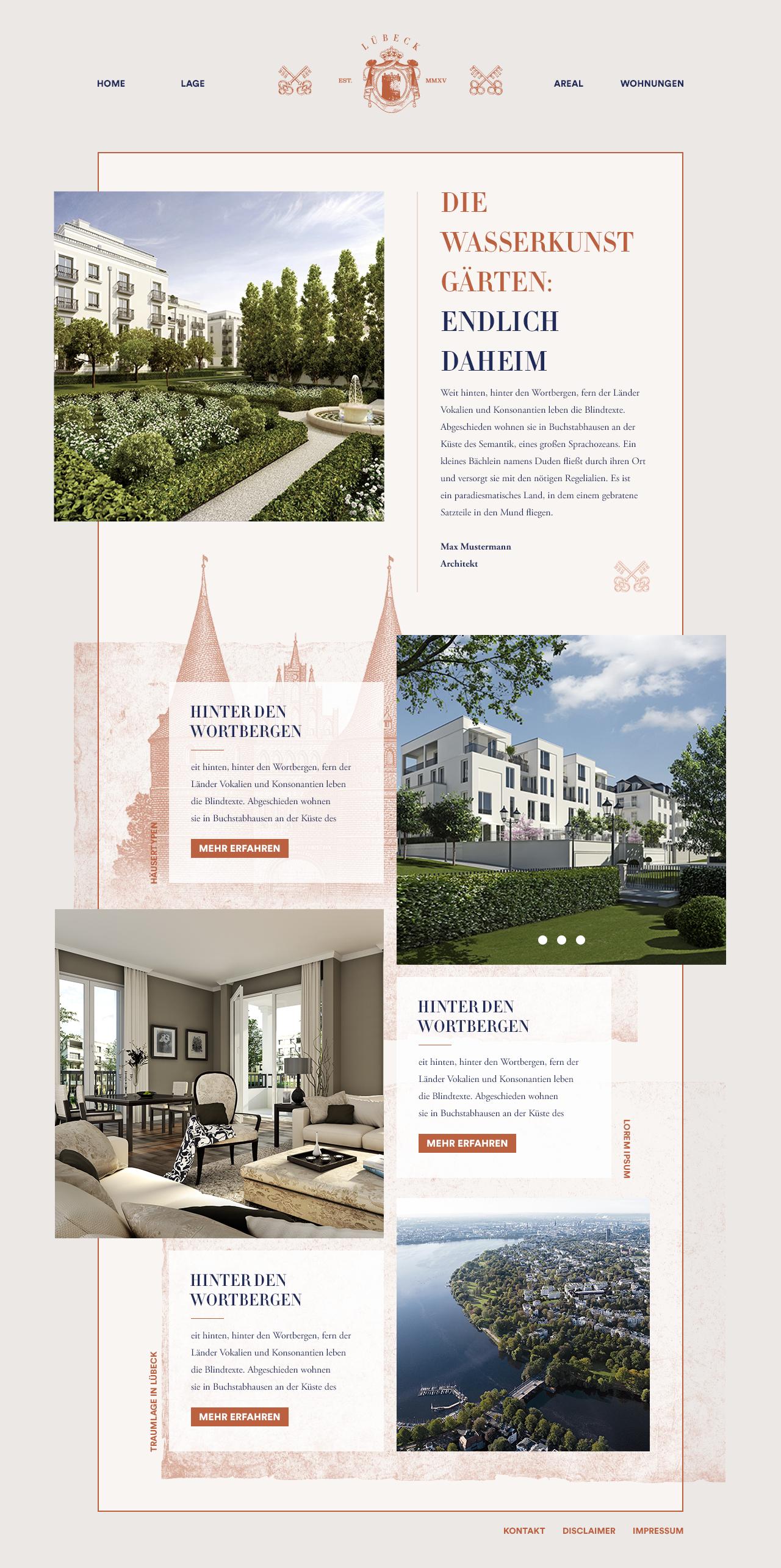 Webseite und App für einen Immobilienentwickler - Startseite