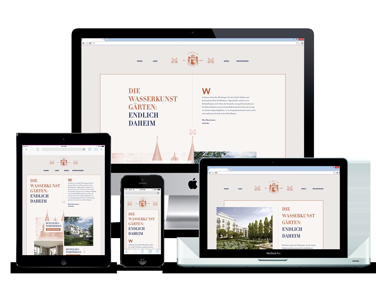 Webseite und App für einen Immobilienentwickler - Responsive Webdesign