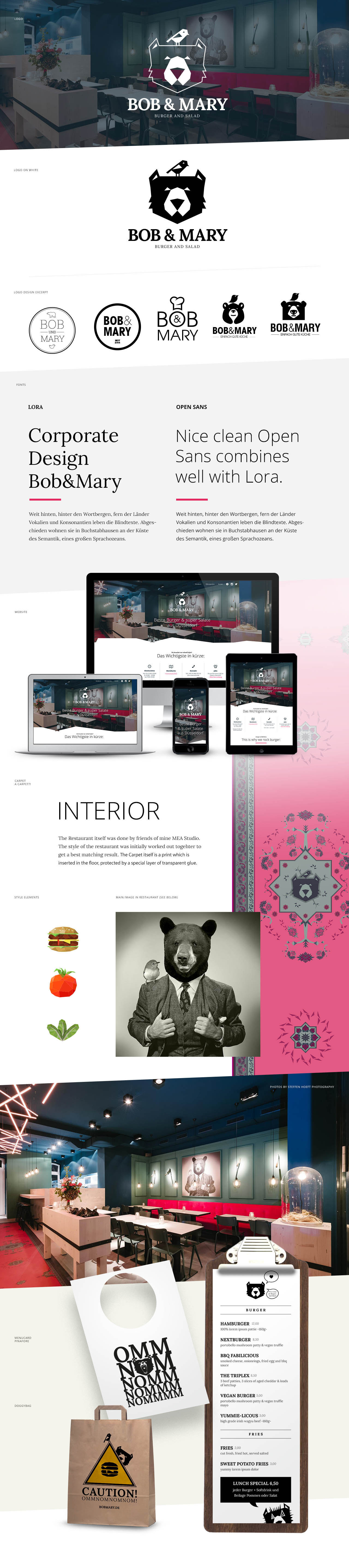 Corporate Design und Webseite für Bob und Mary, dem Burgerladen in Düsseldorf