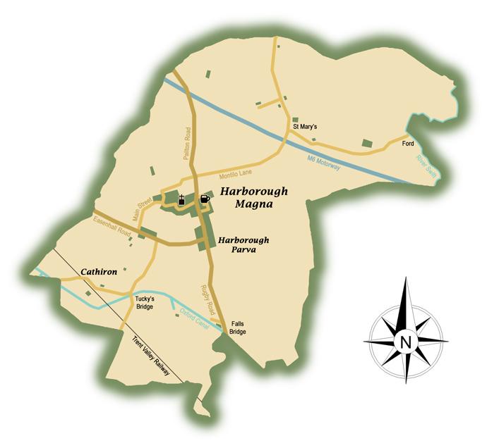 Map of Harborough Magna Parish