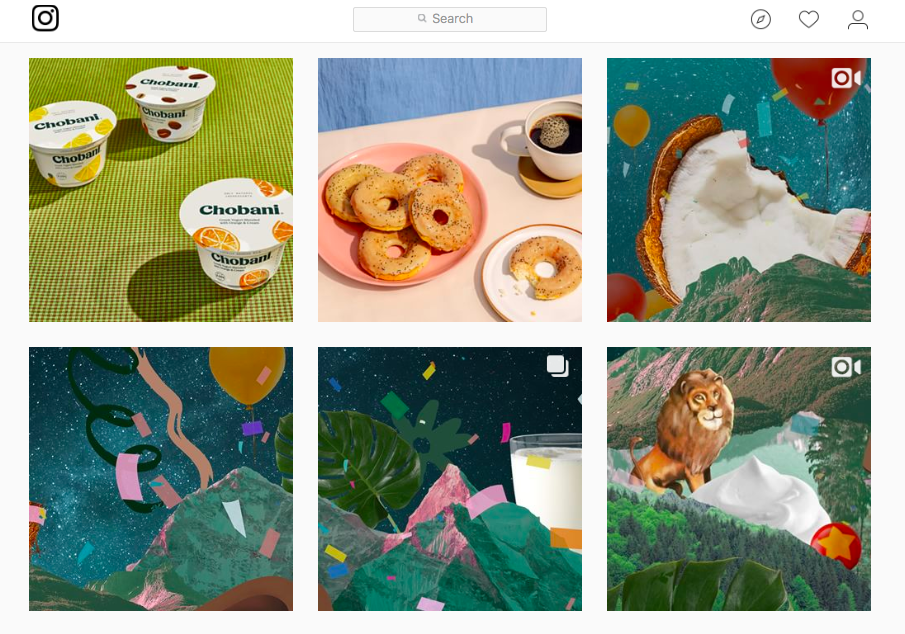 Collage of bagels, animals, fruit, and yogurt