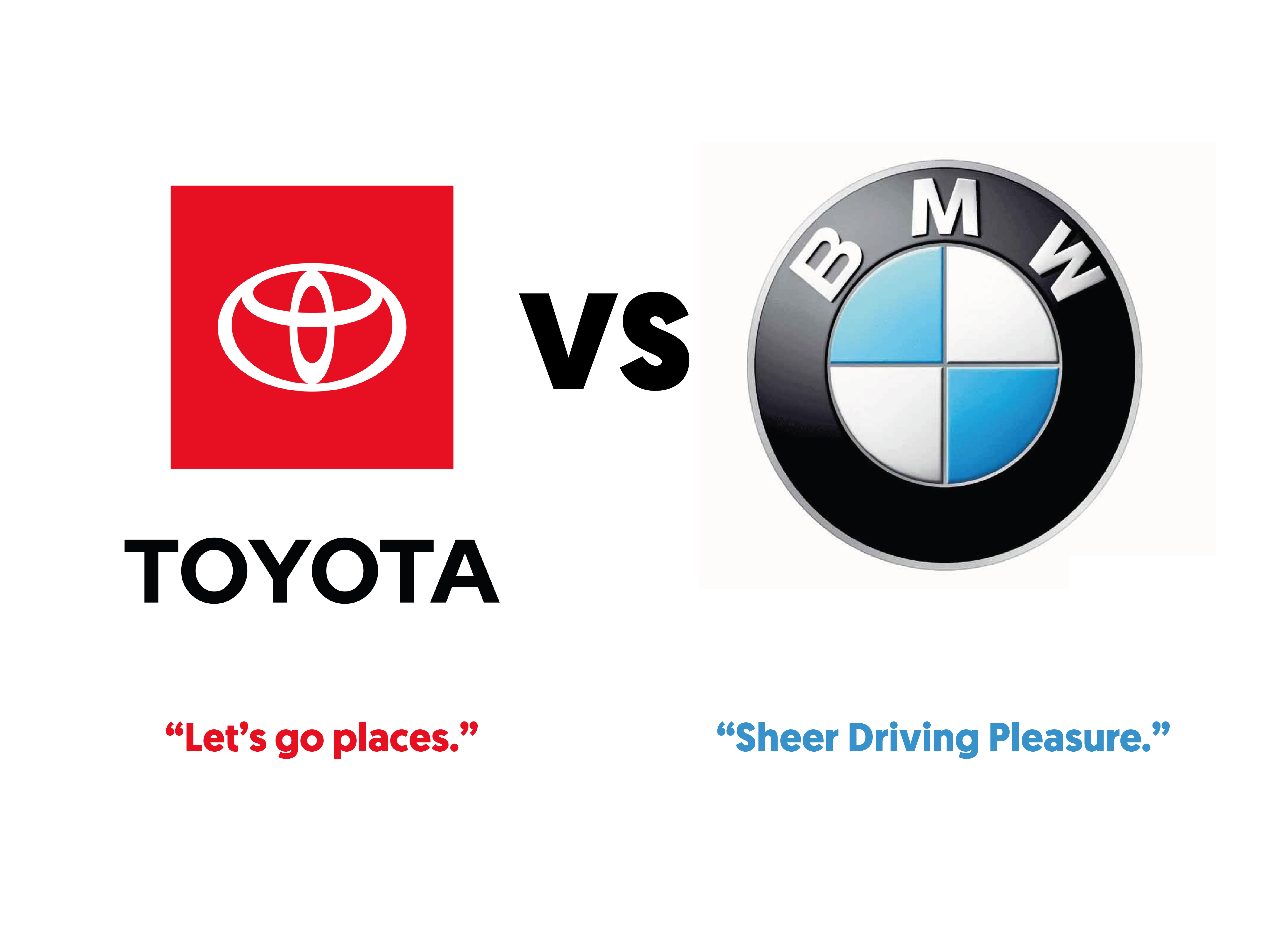 """The Toyota logo with the tagline """"Let's go places"""" under it vs the BMW logo with it's tagline """"Sheer driving pleasure"""" under it."""