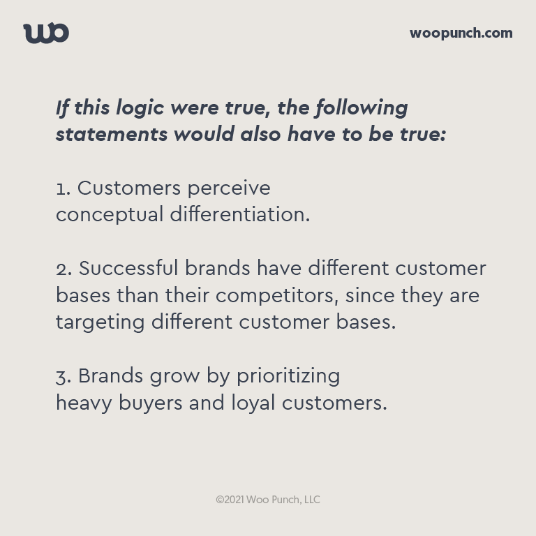 If this logic were true, the following statements would also have to be true:  1. Customers perceive  conceptual differentiation.  2. Successful brands have different customer bases than their competitors, since they are targeting different customer bases.  3. Brands grow by prioritizing heavy buyers and loyal customers.