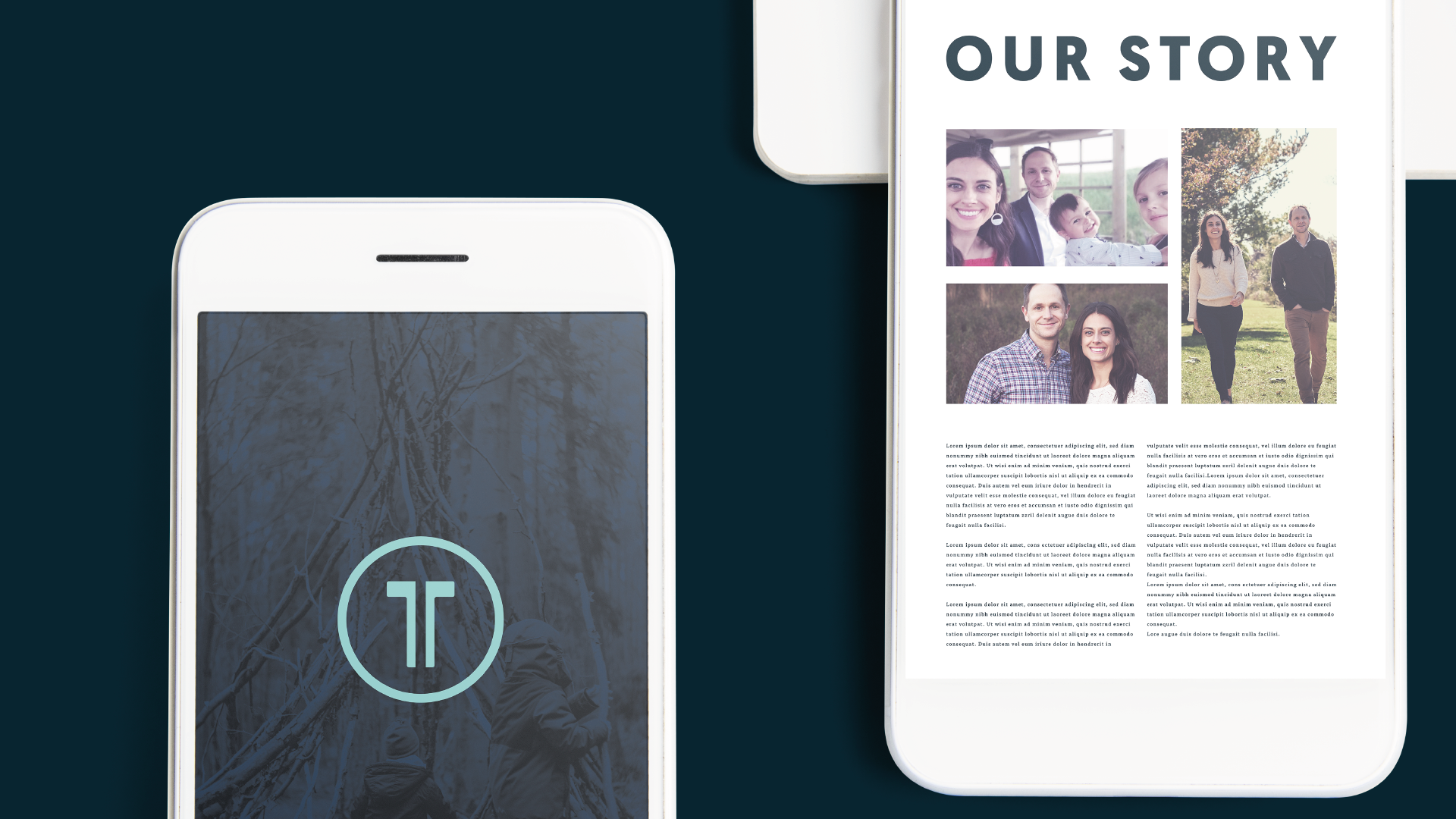 Mobile mockup of the Tandem site. Images show the logo on one phone with two kids in the woods. Blue overlay. The other phone shows pictures of the Tandem owners, Craig and Carrie with their kids.