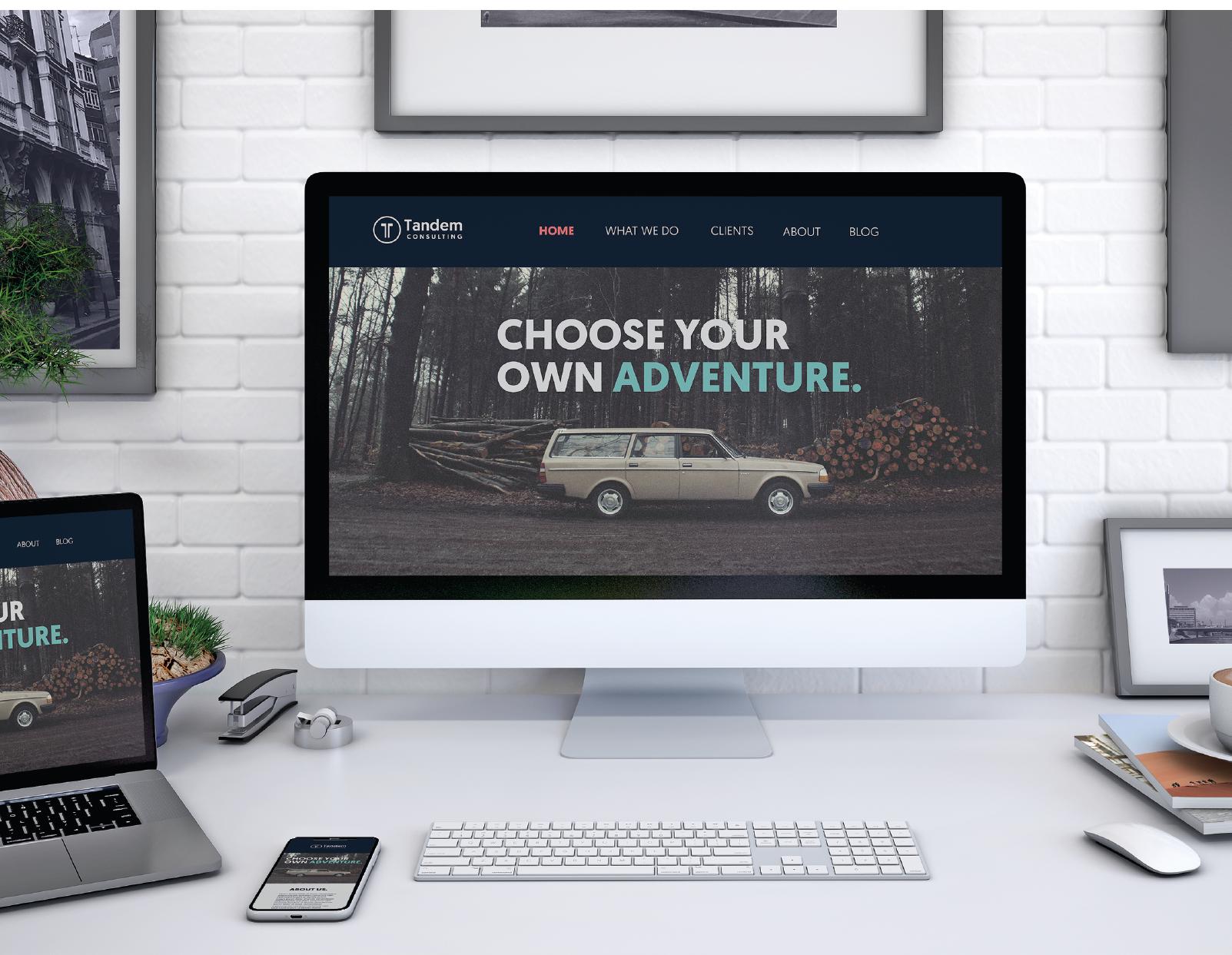 A desktop mockup of the Tandem website.
