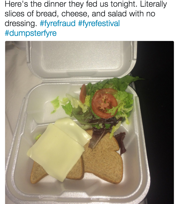 A picture of the food that Fyre fest attendees were served. Bread, cheese, and some arugula.