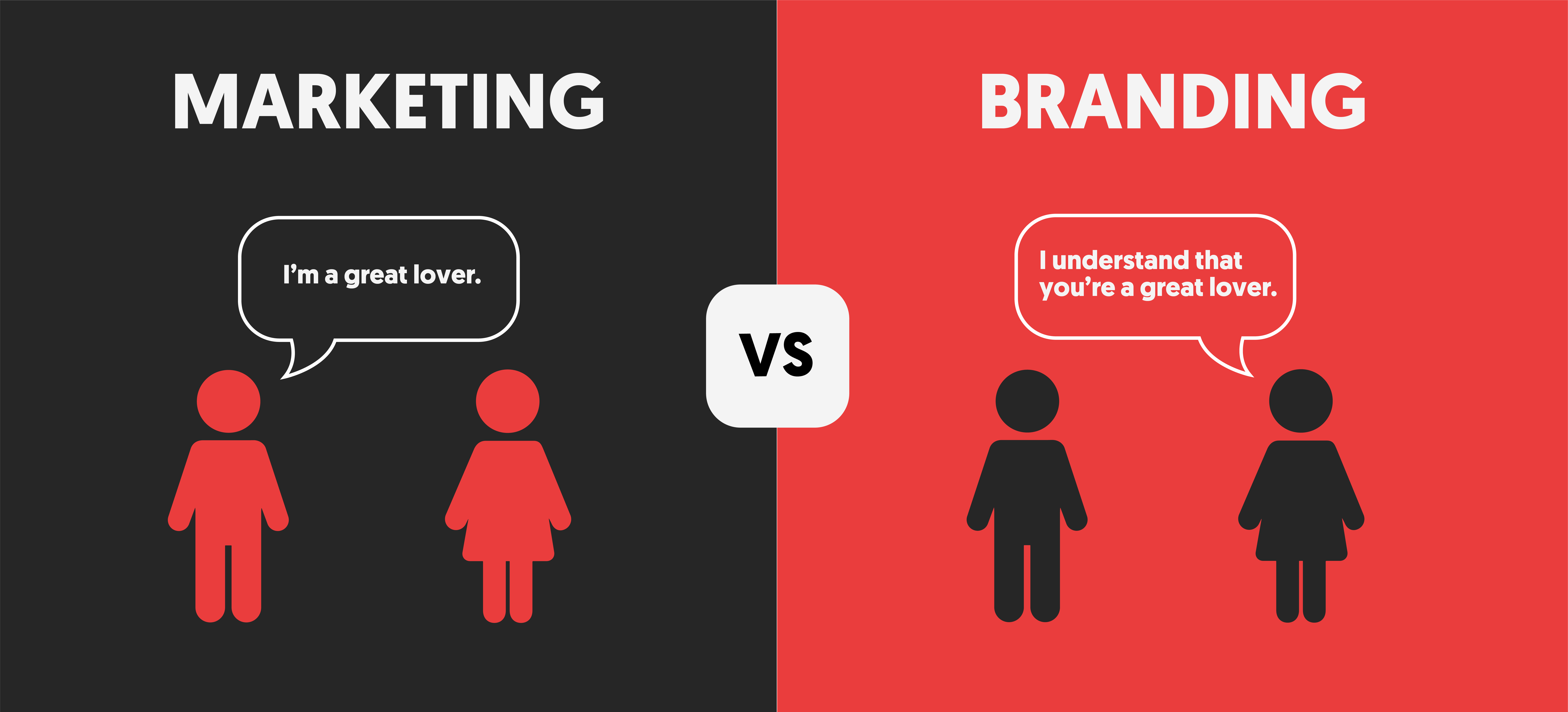 Marketing vs Branding. I'm a great lover vs I understand you're a great lover. From Marty Neumeier's book, Zag.