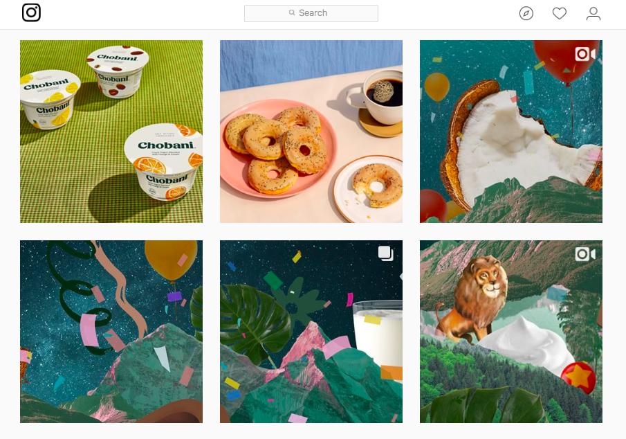 Collage of bagels, animals, fruit, and yogurt