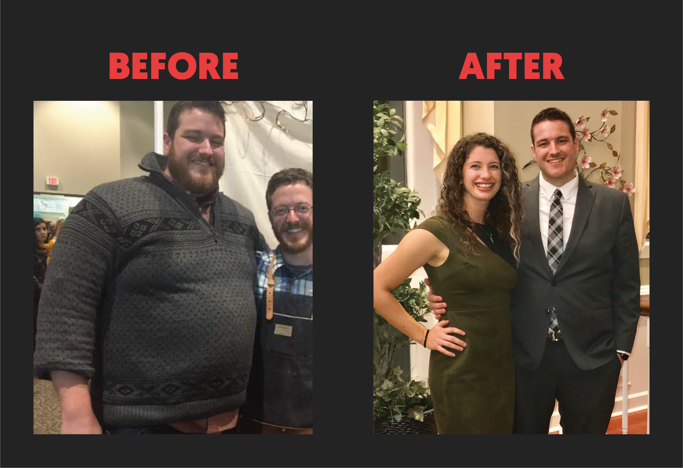 My before and after pictures. On the left I'm 65 pounds heavier and have a beard.