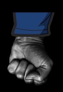 Cartoon fist moving down.