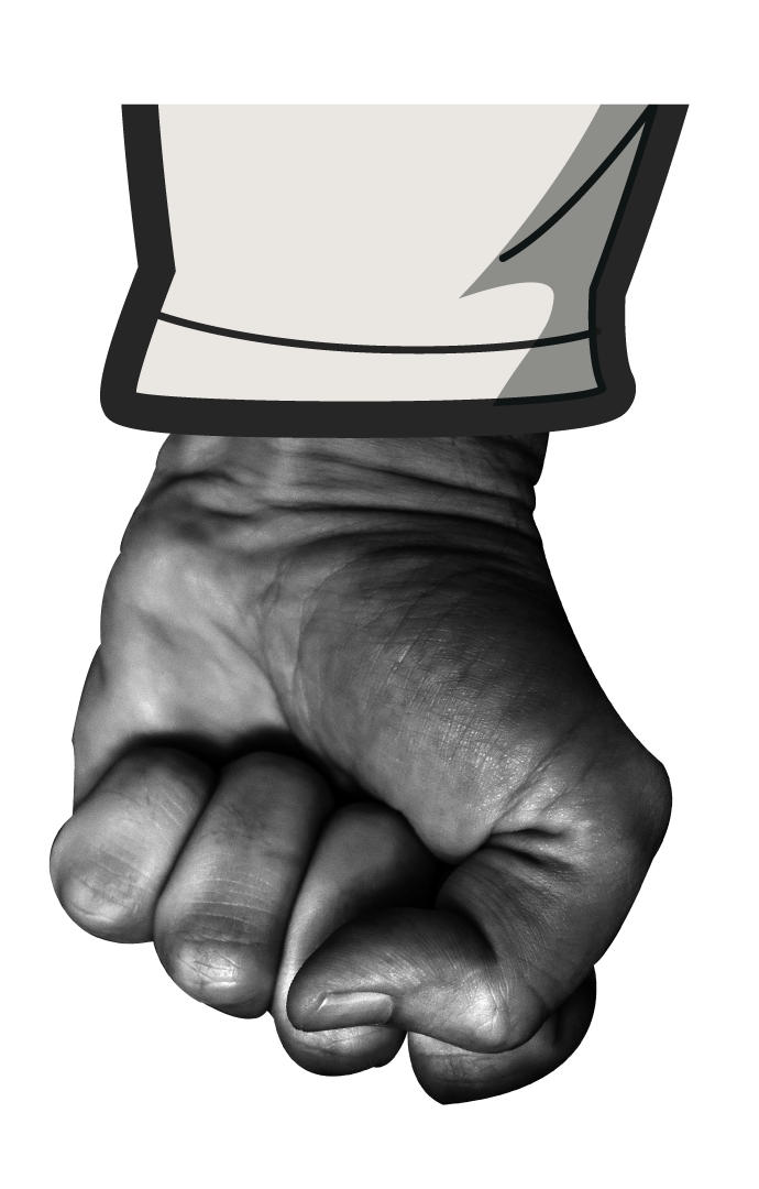 Cartoon fist moving down