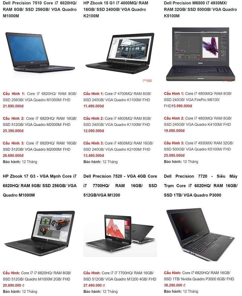 List laptop chuyên dành cho thiết kế đồ hoạ cấu hình mạnhgiá rẻ tại Máy Tính Trạm