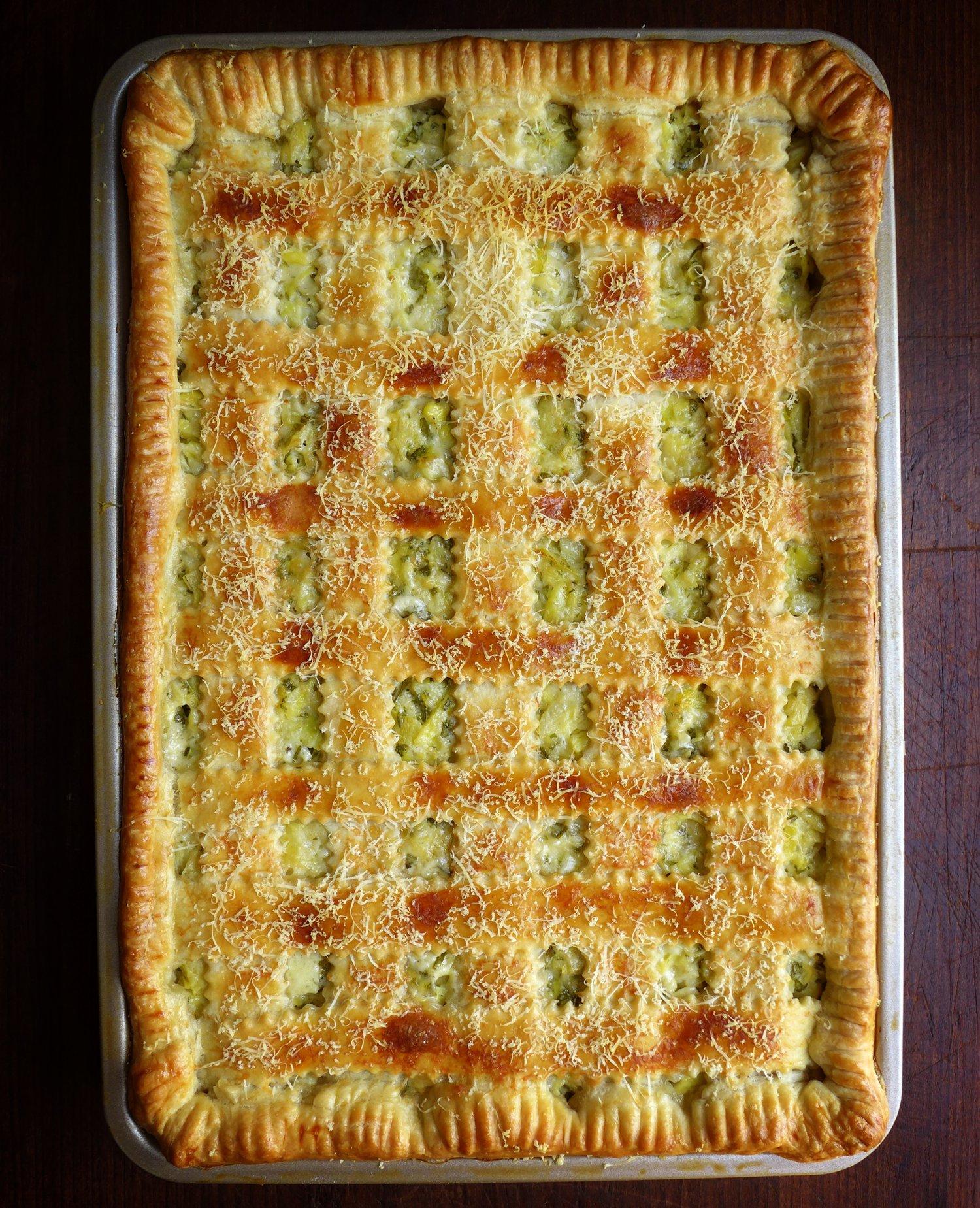Just-Like-Artichoke-Dip Slab Pie with a Cream Cheese Crust