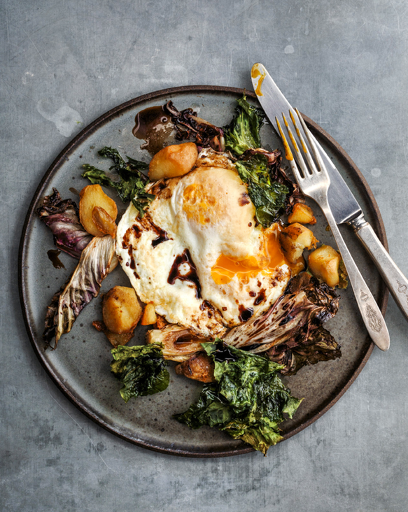 Balsamic Fried Eggs with Roasted Radicchio