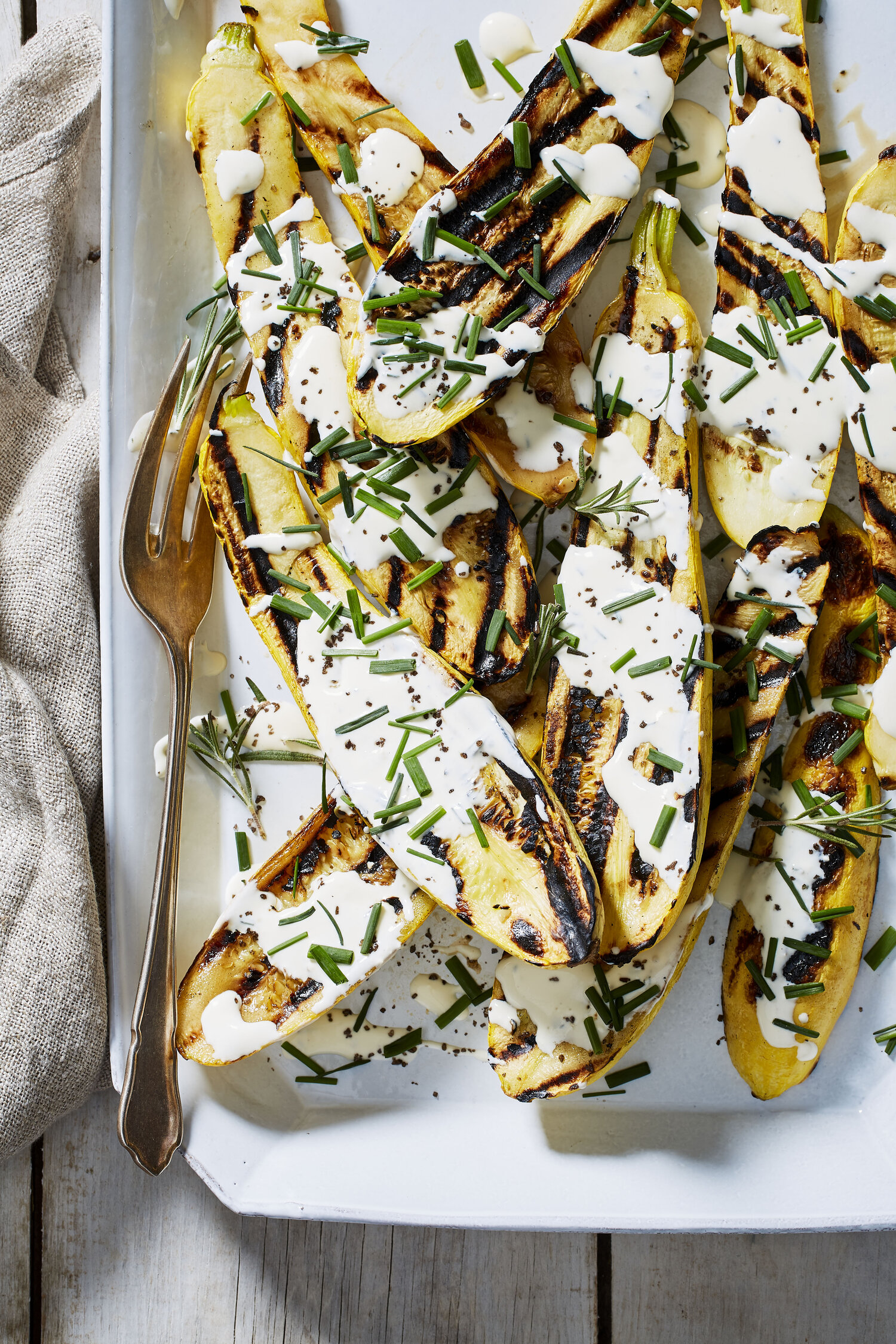 Blackened Summer Squash with Buttermilk Cream Sauce, Rosemary, and Chives
