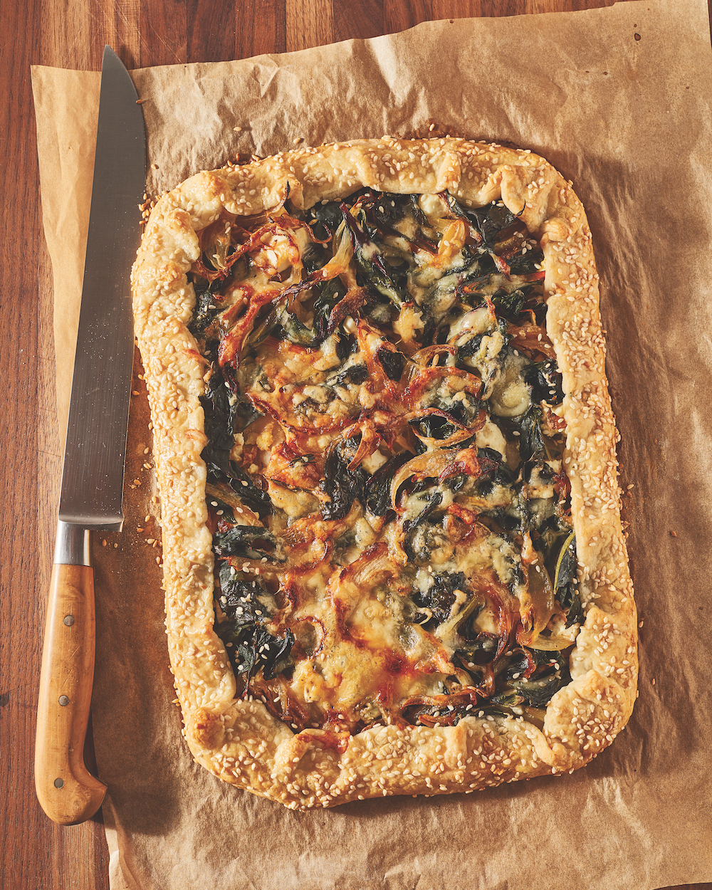 Chard and Onion Tart with Two Cheeses