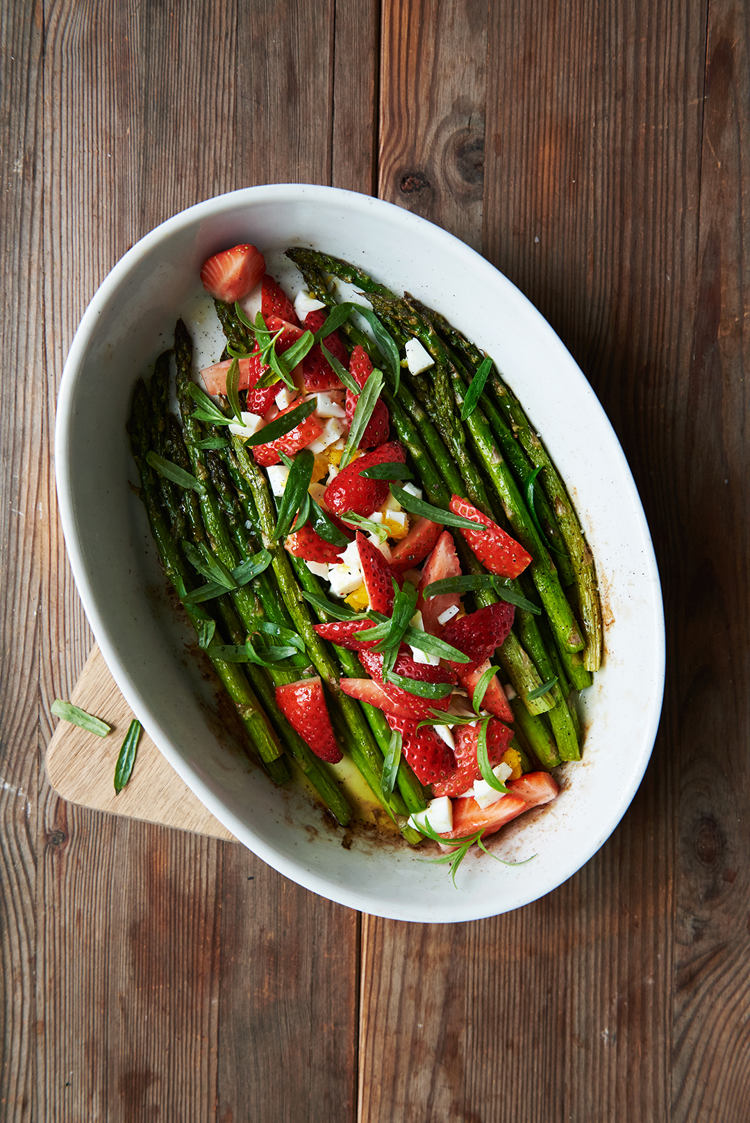 Roasted Asparagus with Strawberries, Tarragon, and Crumbled Eggs