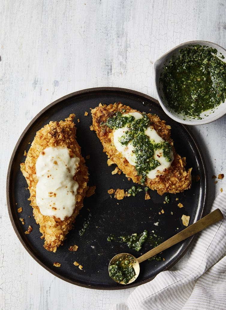 Potato-Chip Crusted Chicken with Arugula Pesto