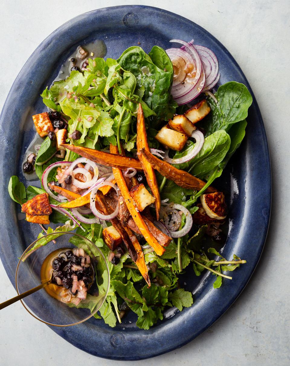 Haloumi + Sweet Potato Salad with Blueberry Vinaigrette