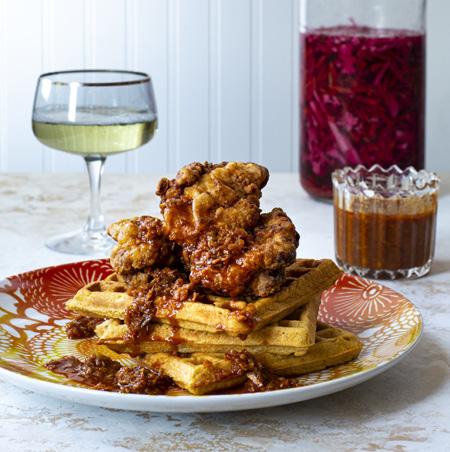 Fried Chicken and Waffles with Piri Piri Glaze