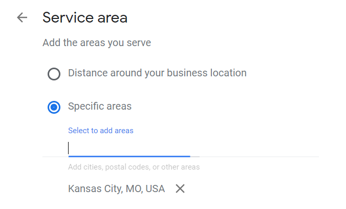 GMB service area selection example