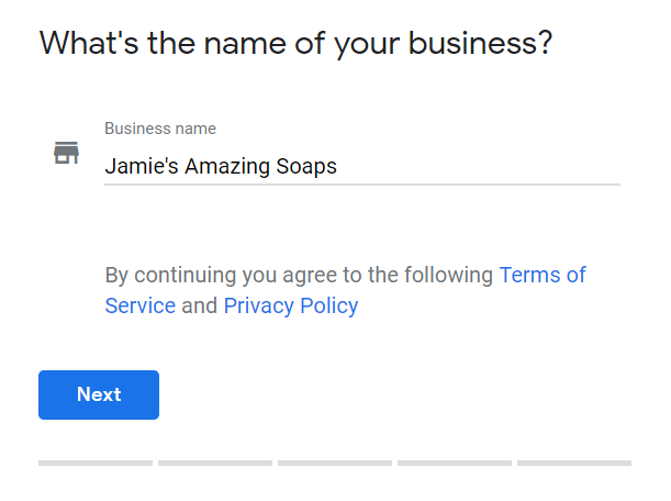 Example of GMB business name entry form