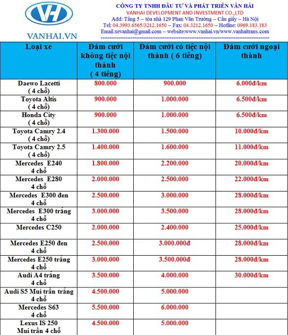 Bảng giá cho thuê xe 4 chỗ giá rẻ hà nội của Vân Hải