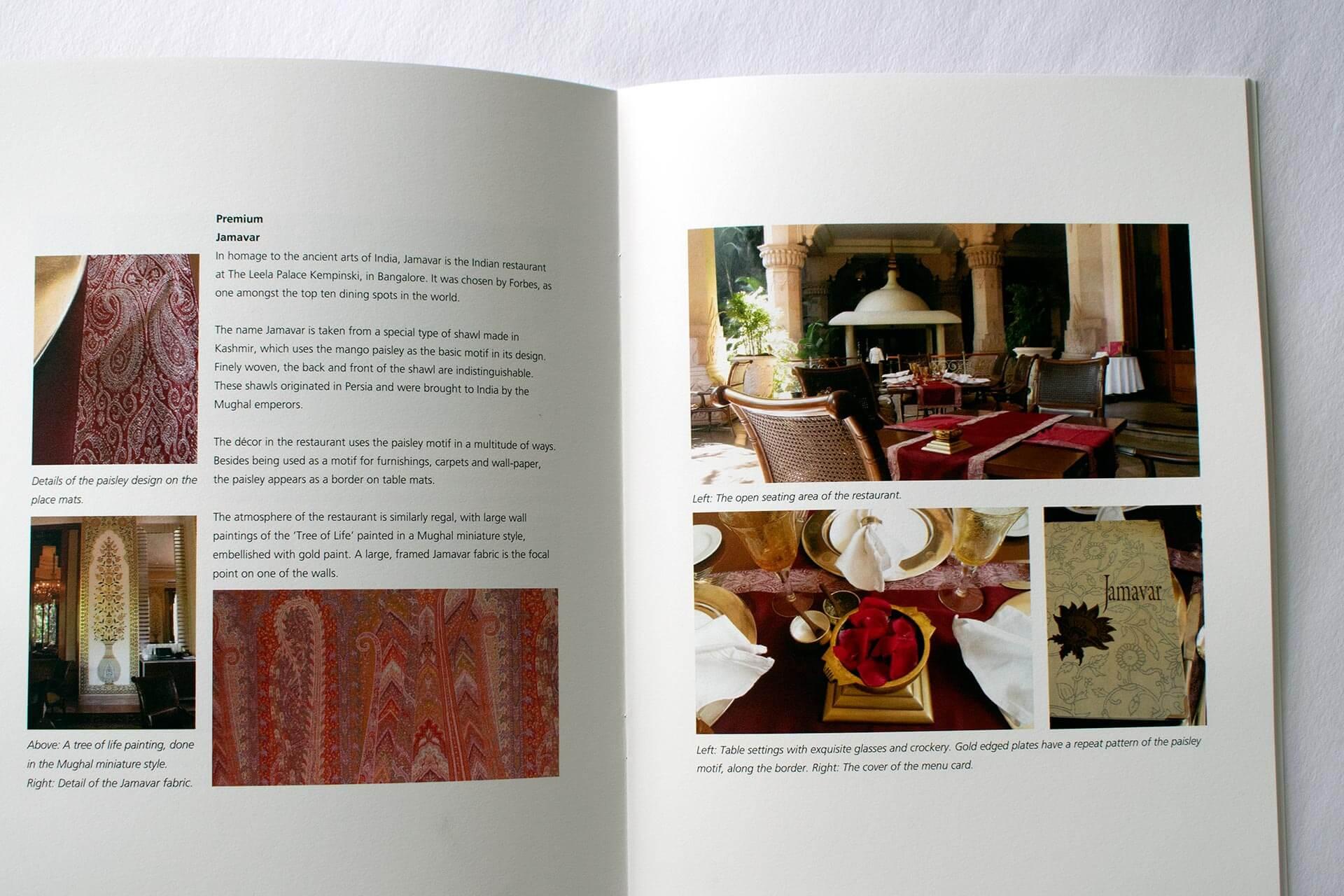 The design vocabulary of 'Jamavar' at the Leela Palace