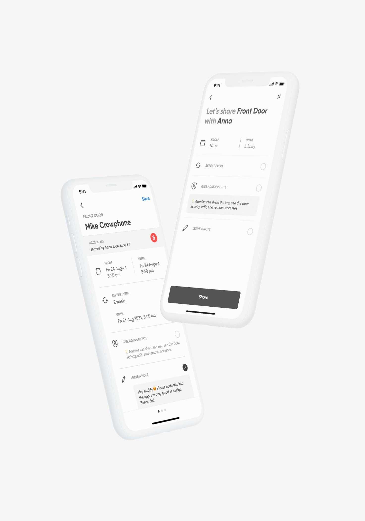 Application mobileBrightLockmontrant le partage d'accès et les détails d'un accès.