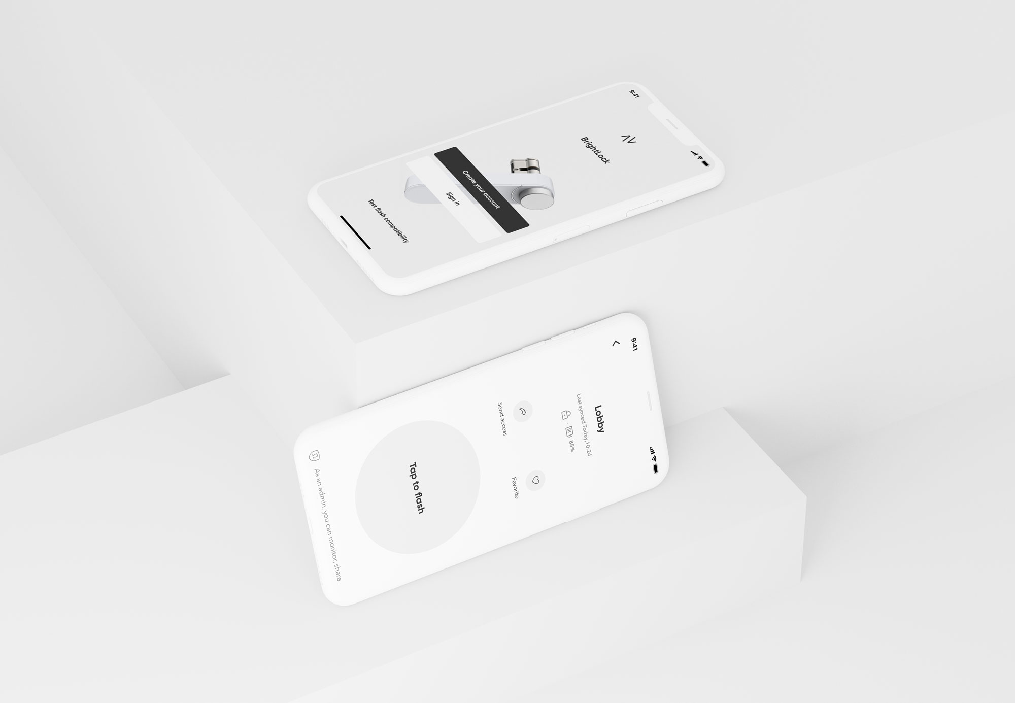 Two phones showing screens of the BrightLock mobile app