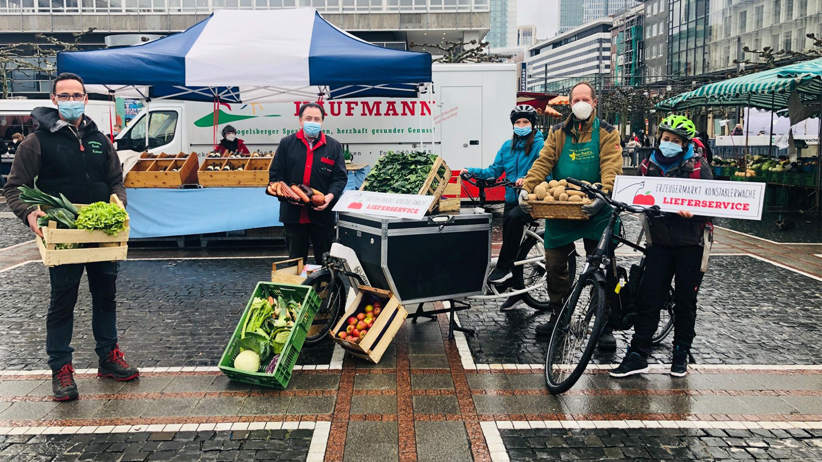 Wochenmarkt in Frankfurt: Über Marktfee App bestellen, von Sachen auf Rädern bringen lassen