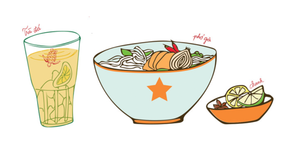 Pho and iced tea illustration by Vietnamease Caphe