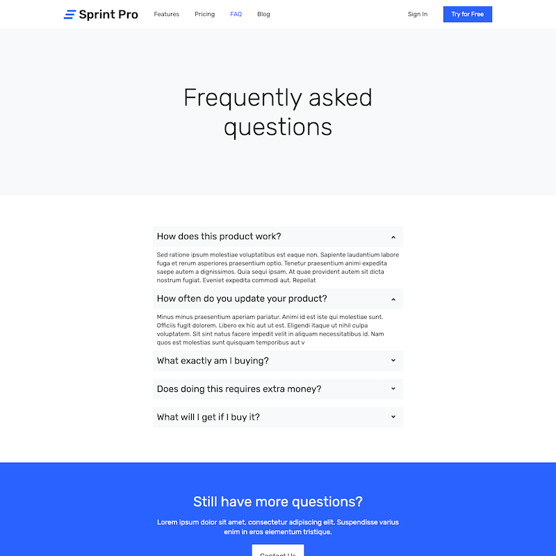 Sprint Pro FAQ page template