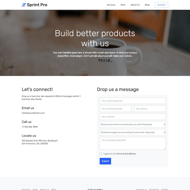 Sprint Pro contact page template