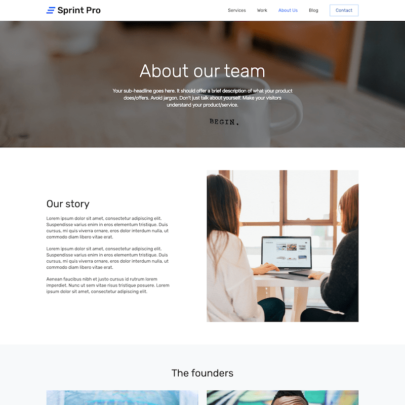 Sprint Pro about page template