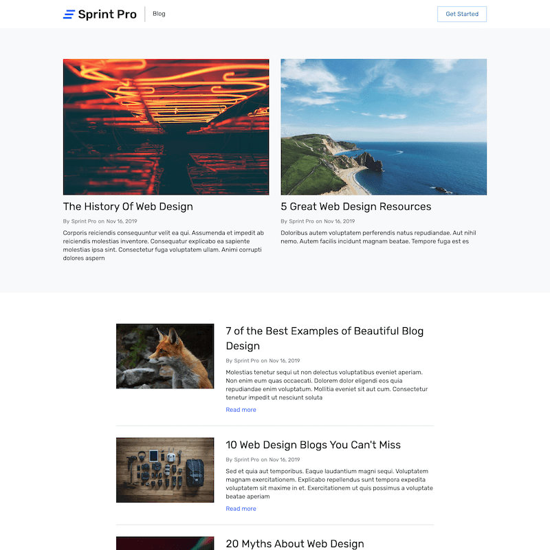 Sprint Pro blog page template