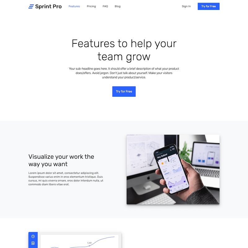 Sprint Pro features page template