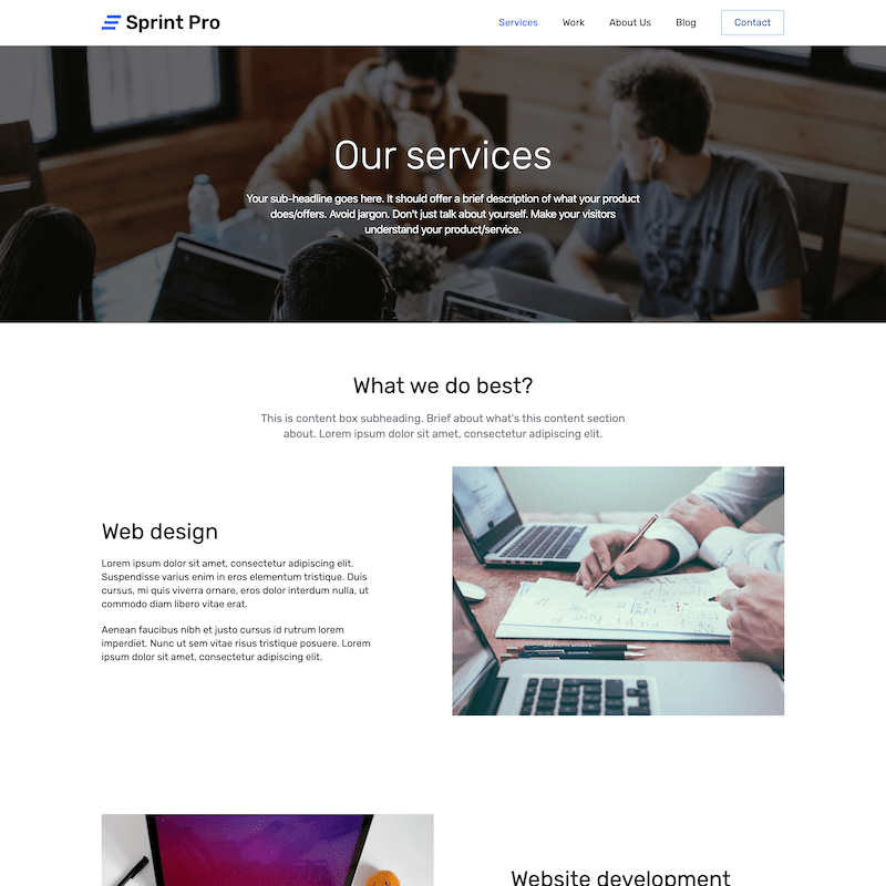 Sprint Pro services page template