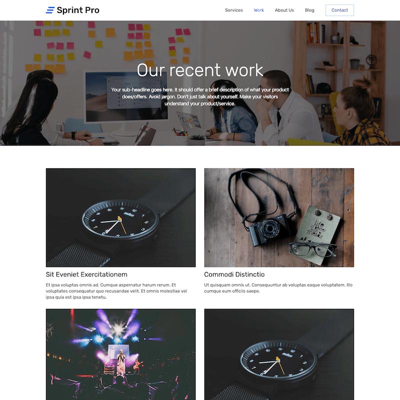 Sprint Pro work portfolio template