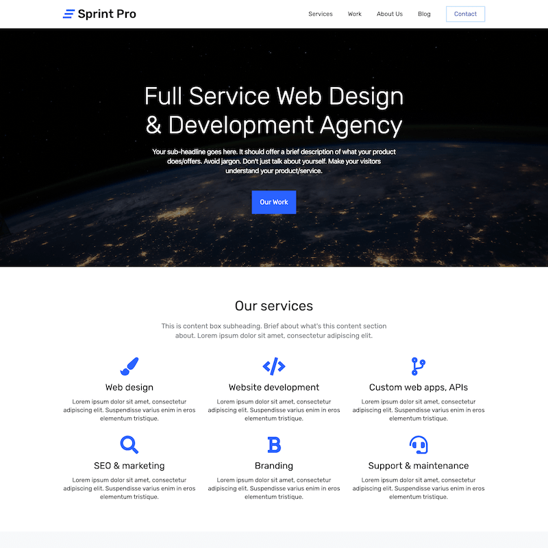 Sprint Pro landing page template 1