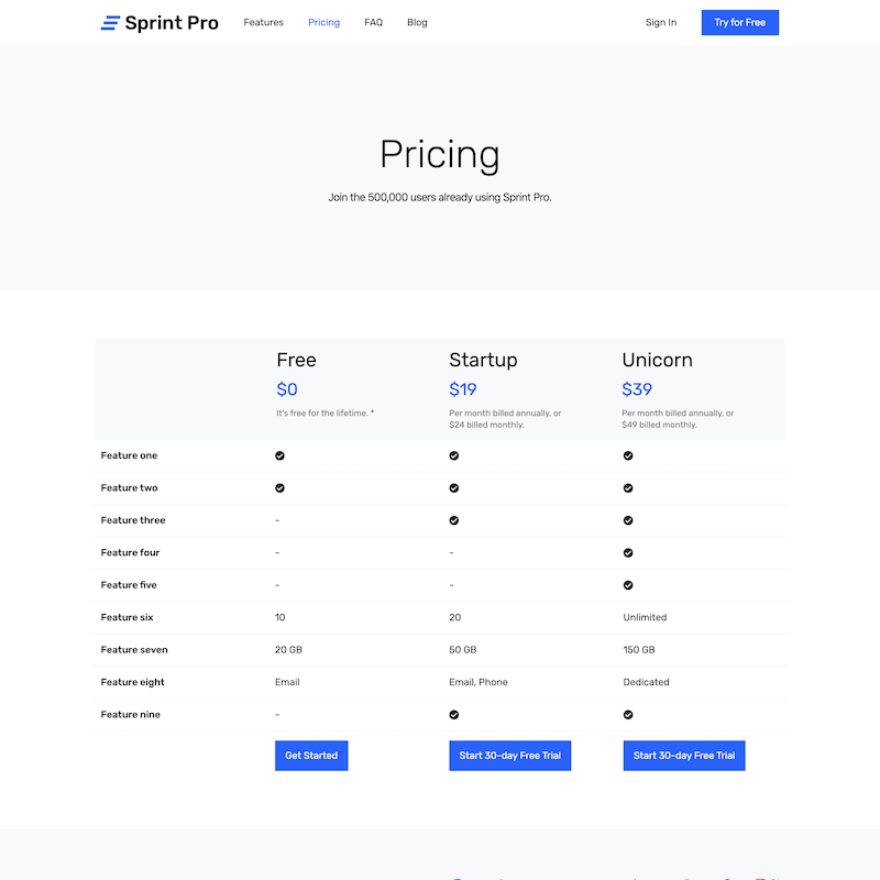 Sprint Pro pricing page template
