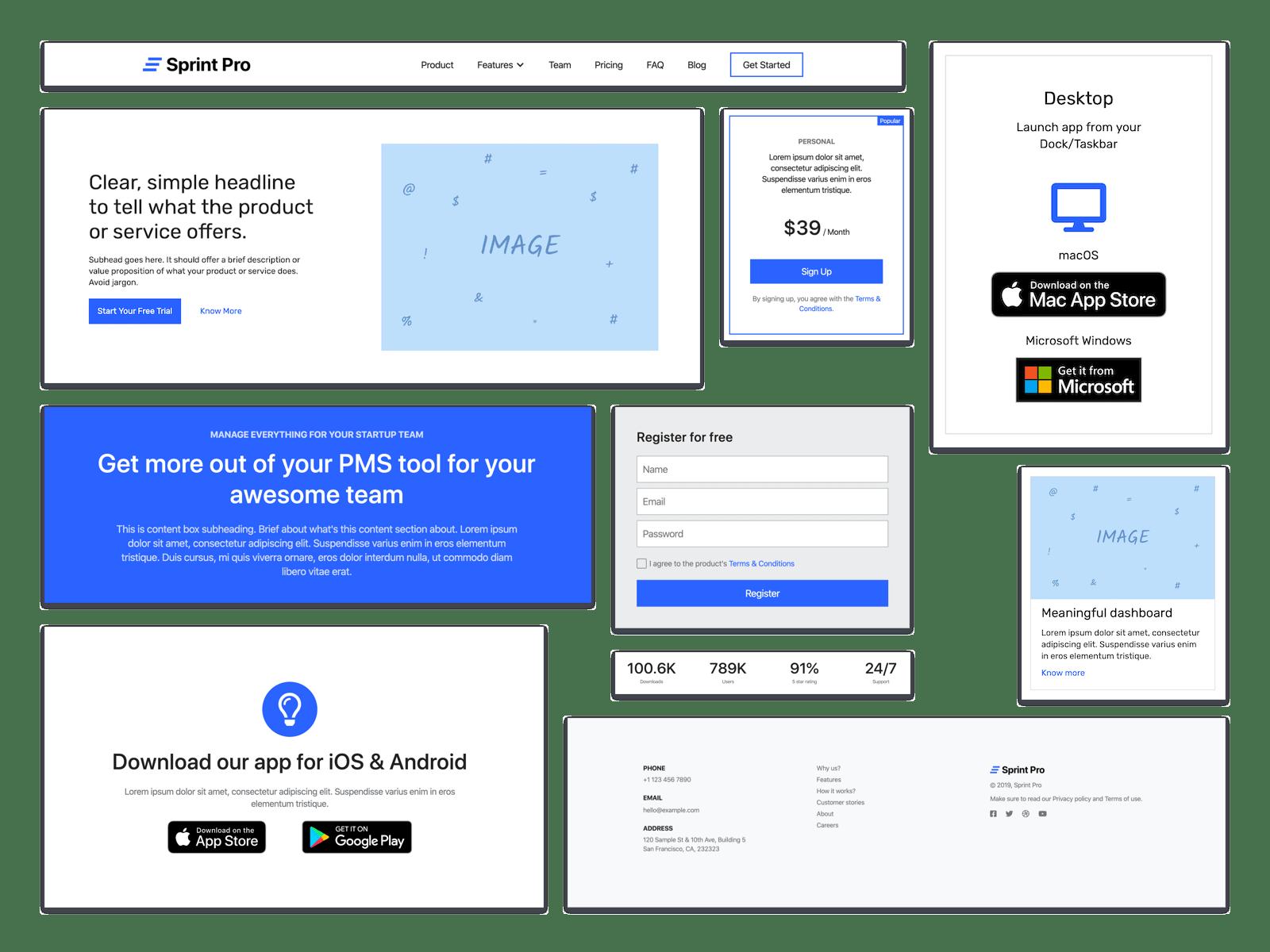 Sprint Pro UI blocks