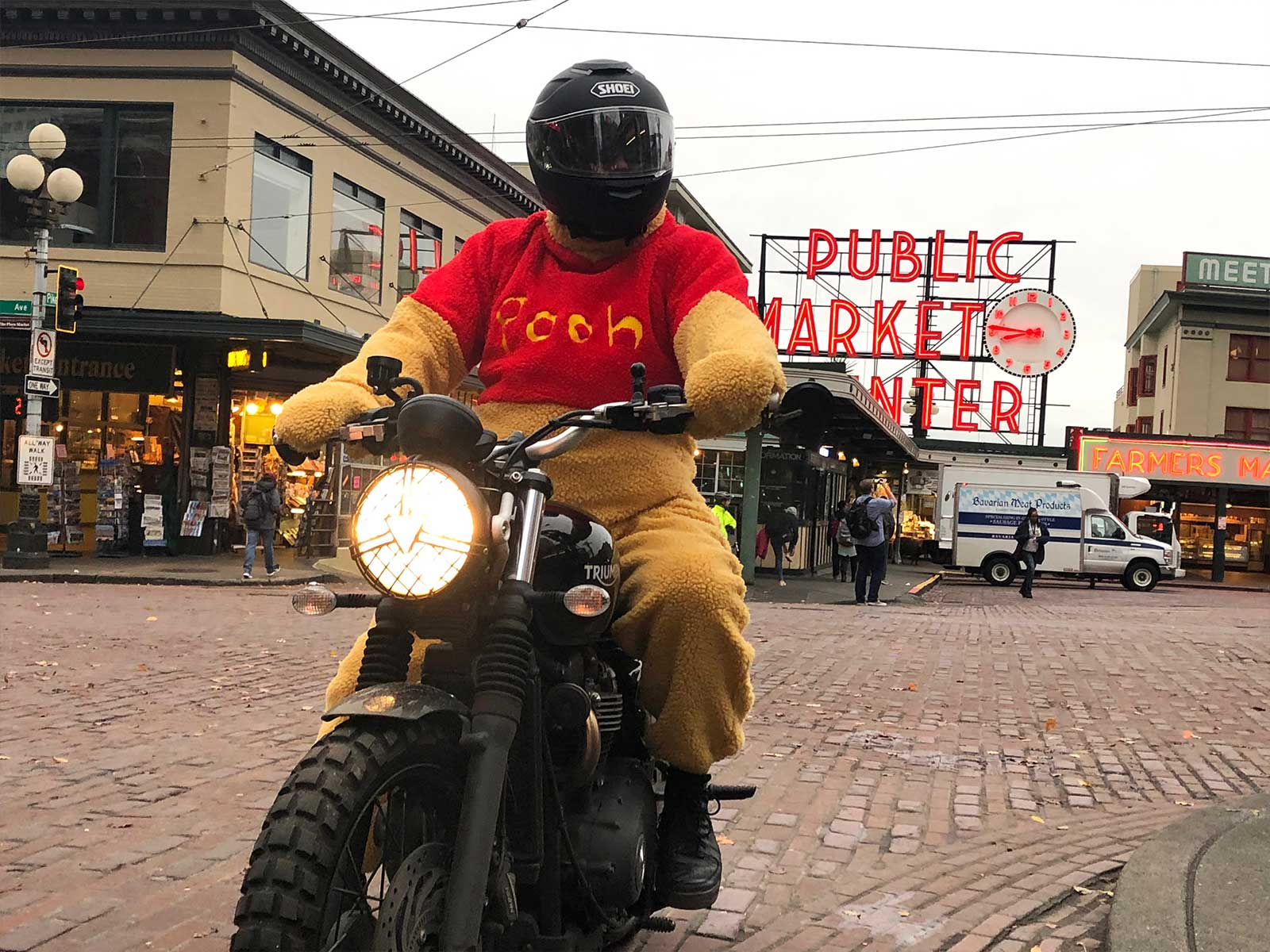 Pooh on a bike