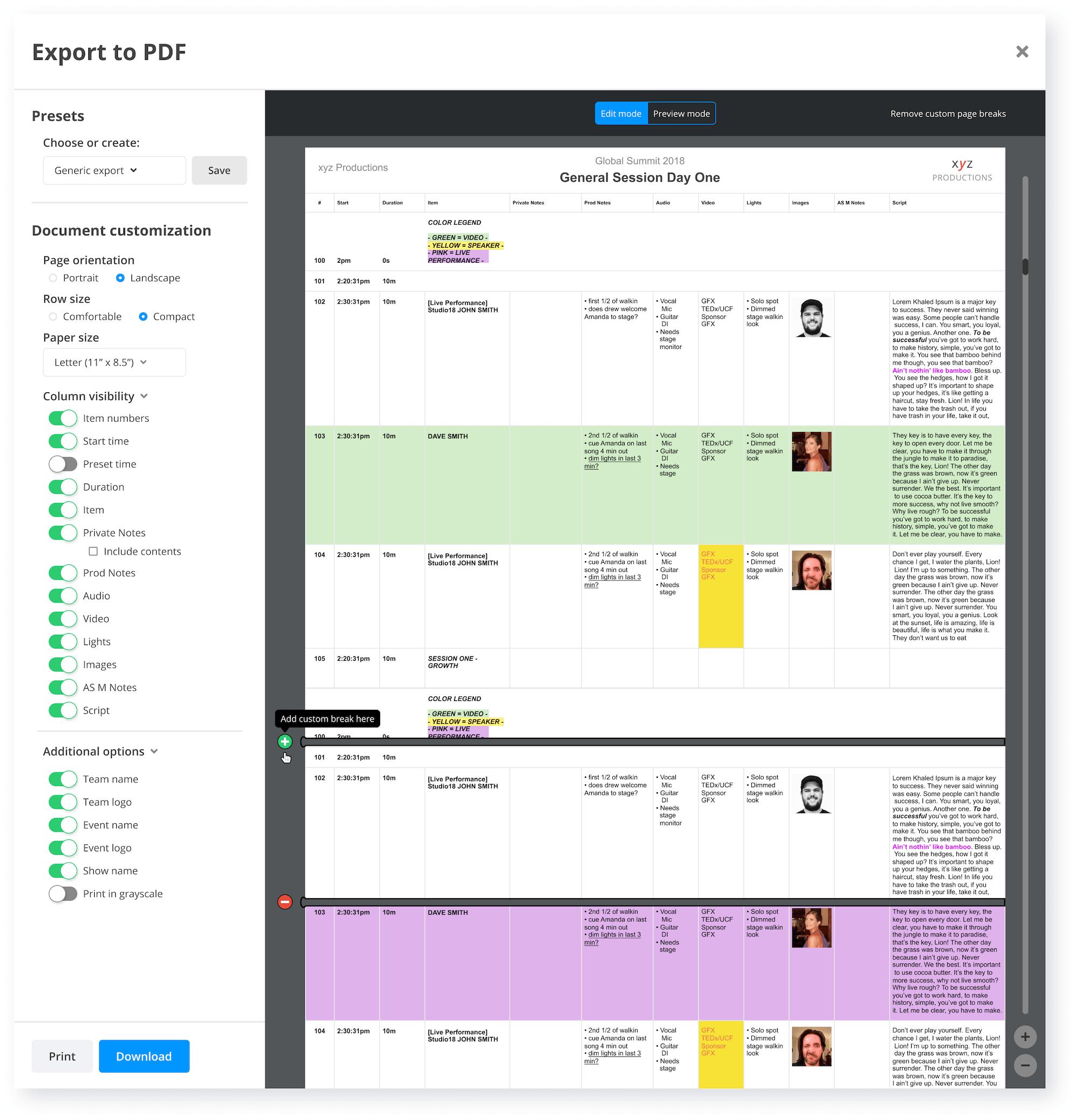 Shoflo PDF export